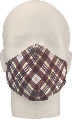 Maska za lice NERIOX dvoslojna, Karirano smeđa