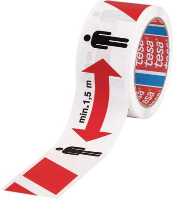Podna traka za označavanje i upozorenje tesa®, 58263, 50 mm x 50 m, crvena/bijela